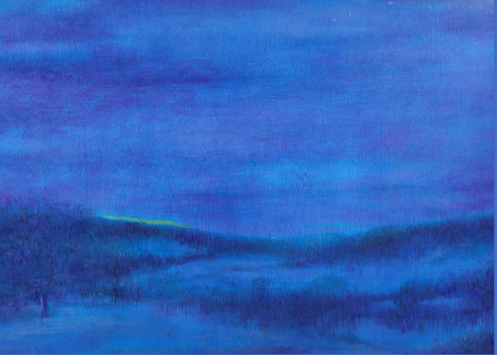 Snowy Landscape Greeting Card featuring the painting Snowy Blue Nocturne by Judith Cheng