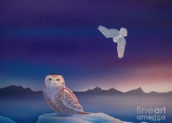 Great Snowy Owls Painting Greeting Card featuring the painting Snowy Dawn by Jerry Bokowski