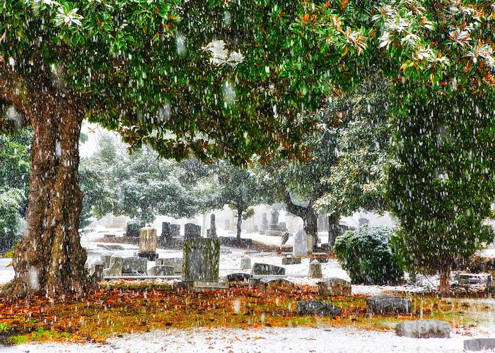 Greensboro Greeting Card featuring the painting Snowy Day At The Cemetery - Greensboro North Carolina by Dan Carmichael