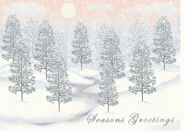 Snowy Day Winter Scene Seasons Greetings Christmas Card Greeting