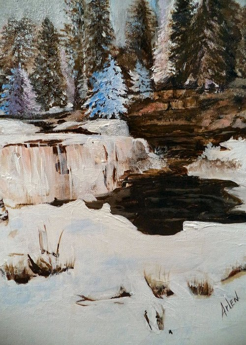 Winter Greeting Card featuring the painting Snowy Falls by Arlen Avernian - Thorensen