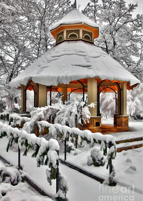 Greensboro Greeting Card featuring the photograph Snowy Gazebo - Greensboro North Carolina I by Dan Carmichael