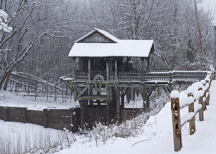 New Salem Greeting Card featuring the photograph New Salem Grist Mill In The Snow Clr by Eric Mace