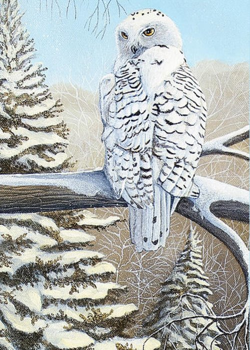 Rick Huotari Greeting Card featuring the painting Snowy Owl by Rick Huotari