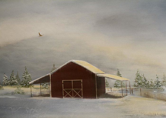 Snow Greeting Card featuring the painting Snowy Red Barn by Katrina Nixon
