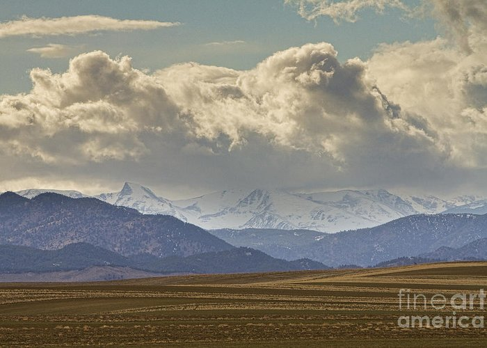 Rocky Mountains Greeting Card featuring the photograph Snowy Rocky Mountains County View by James BO Insogna