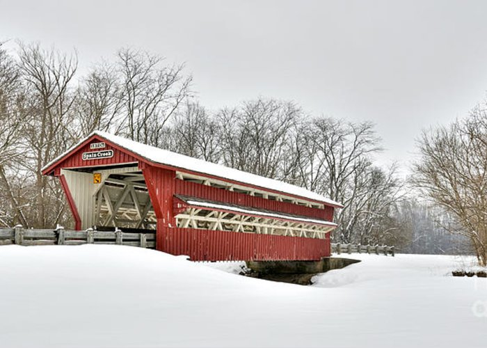 Covered Bridge Greeting Card featuring the photograph Snowy Spain Creek Covered Bridge 1870s by Brian Mollenkopf