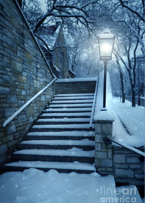 Exterior Stairway Lit By Old Light Post Greeting Card featuring the photograph Snowy Stairway by Jill Battaglia