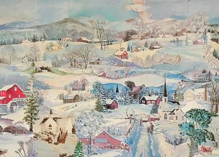 Snow Greeting Card featuring the mixed media Snowy Village - Sold by Judith Espinoza
