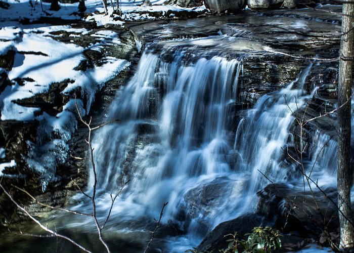 Waterfall Greeting Card featuring the photograph Snowy Waterfall by Jahred Allen