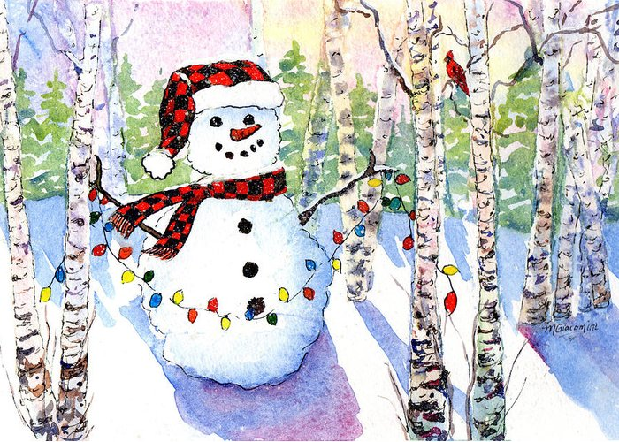 Snowman Greeting Card featuring the painting Snowy Wishes by Mary Giacomini
