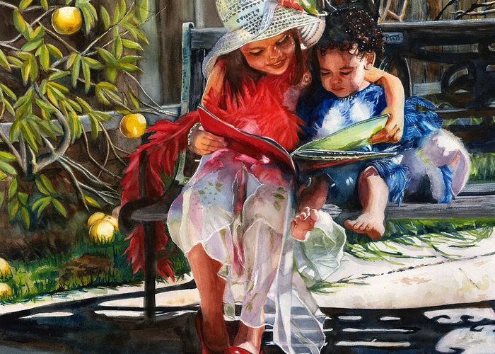 Sisters Greeting Card featuring the painting Snuggled by Maureen Dean