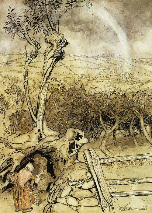 British Artist Greeting Card featuring the painting So Nobody Can Quite Explain Exactly Where The Rainbows End by Arthur Rackham