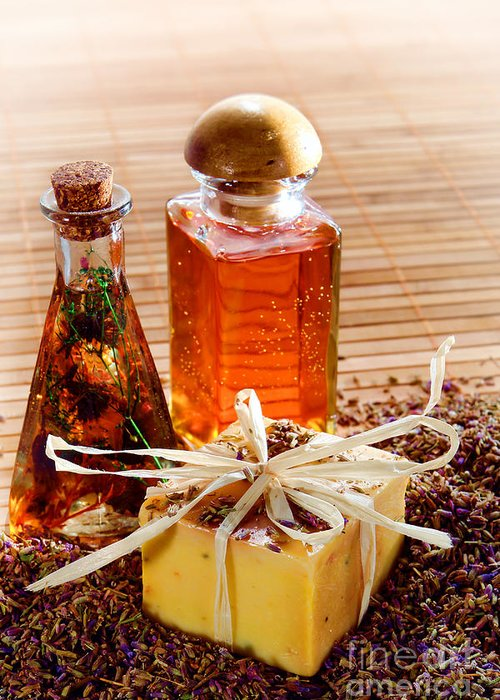 Aromatherapy Greeting Card featuring the photograph Soap And Fragrance Oils by Olivier Le Queinec
