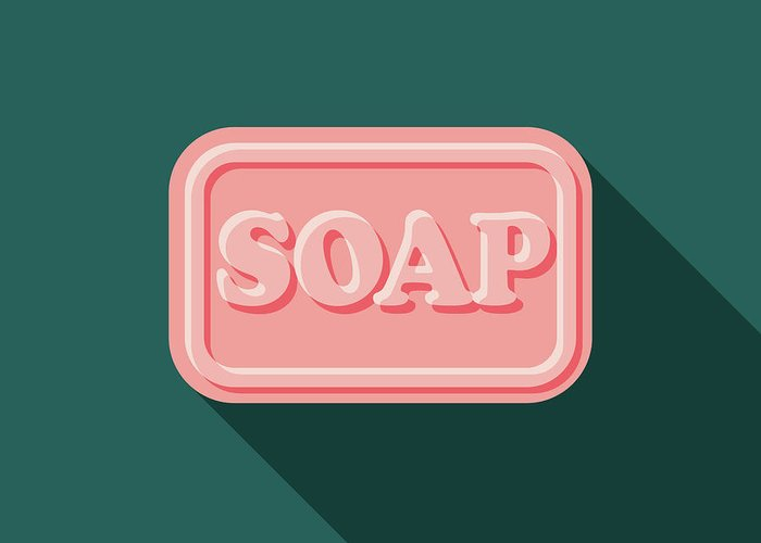 Art Greeting Card featuring the digital art Soap Flat Design Cleaning Icon With by Bortonia
