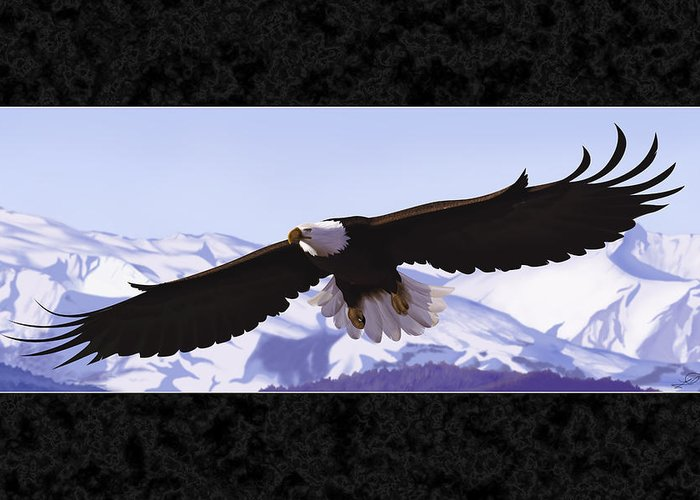 Bald Eagle Greeting Card featuring the digital art Soaring Freedom by Lia Smazik