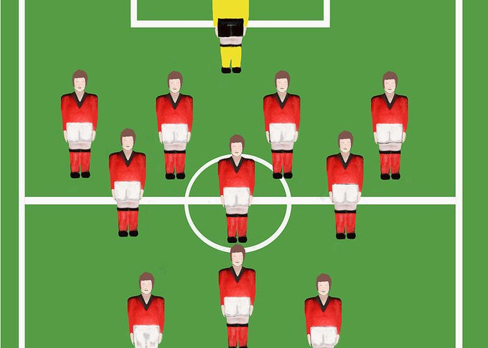 Soccer. Football Greeting Card featuring the digital art Soccer Team Football Players by Tom Conway