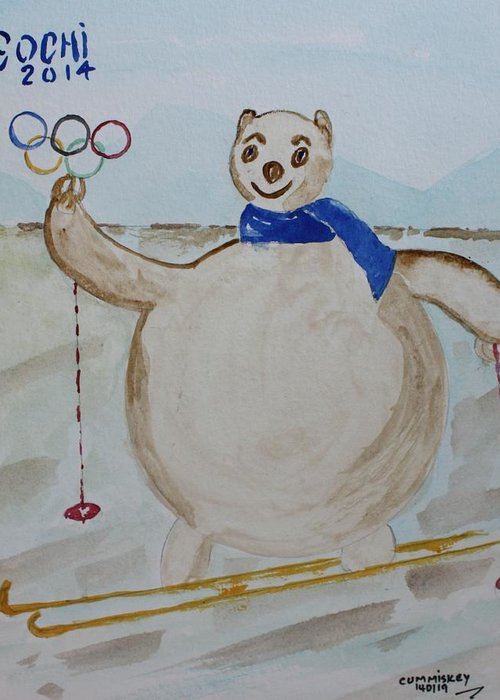 Olympic Games Greeting Card featuring the painting Sochi by Roger Cummiskey