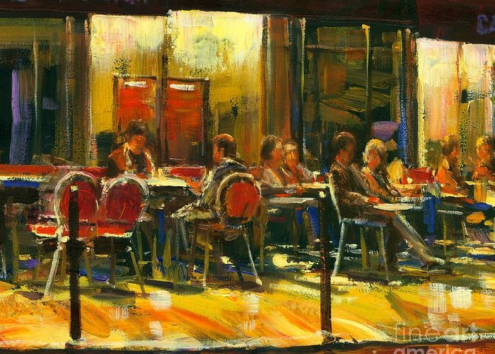 Cafe Greeting Card featuring the painting Socializing by Michael Swanson
