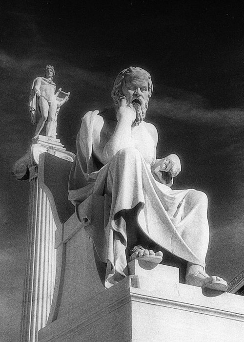 Socrates Greeting Card featuring the photograph Socrates And Apollon by Andonis Katanos