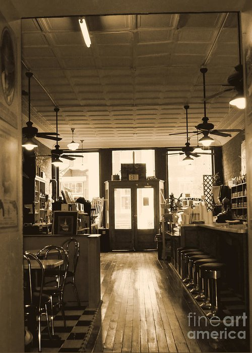 Soda Shop Greeting Card featuring the photograph Soda Fountain And General Store by Debra Crank