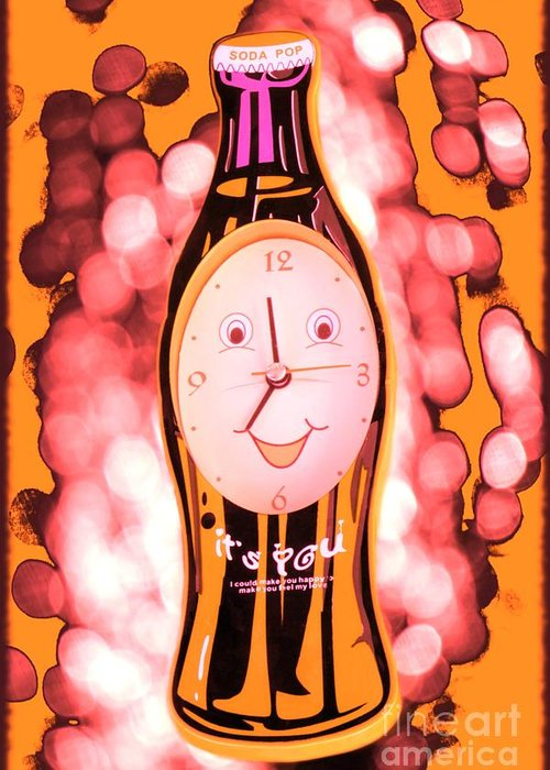 Clock Greeting Card featuring the photograph Soda Pop Clock by Sophie Vigneault