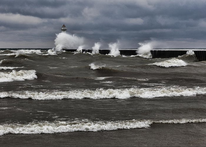 Greeting Card featuring the photograph Sodus Waves by Chris Babcock