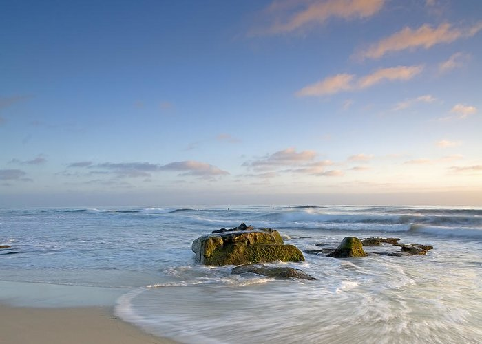 La Jolla Greeting Card featuring the photograph Soft Blue Skies by Peter Tellone