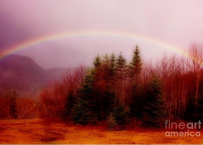 Rainbows Greeting Card featuring the painting Soft Cape Breton Rainbow by John Malone
