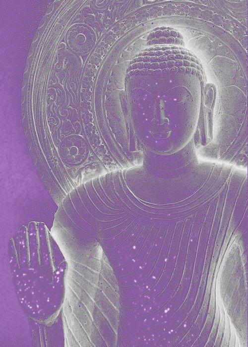 Siddhartha Greeting Card featuring the photograph Soft Glow Purple Buddha by Sally Rockefeller