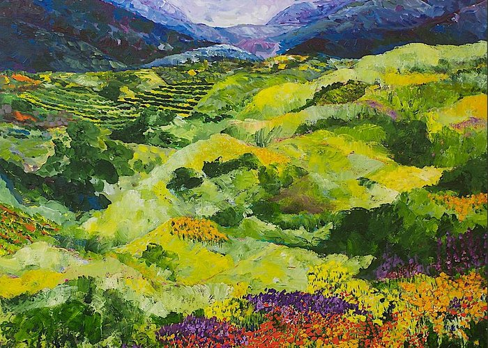 Landscape Greeting Card featuring the painting Soft Grass by Allan P Friedlander