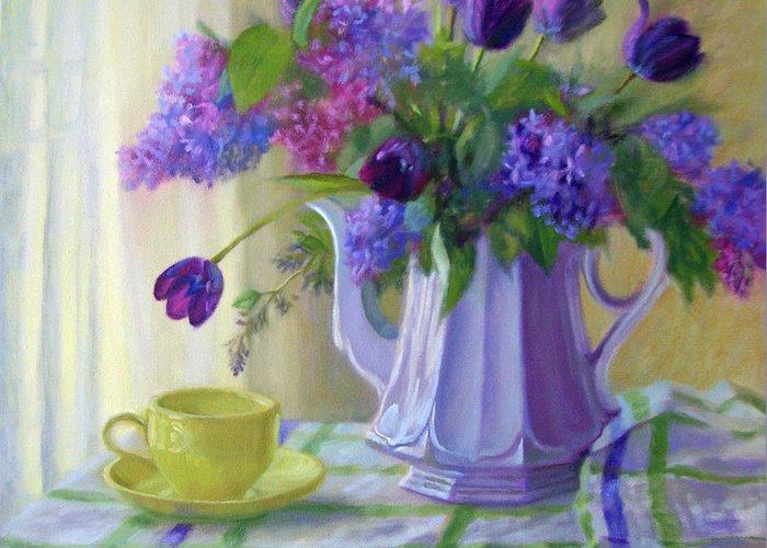Bonnie Mason Greeting Card featuring the painting Soft Light by Bonnie Mason