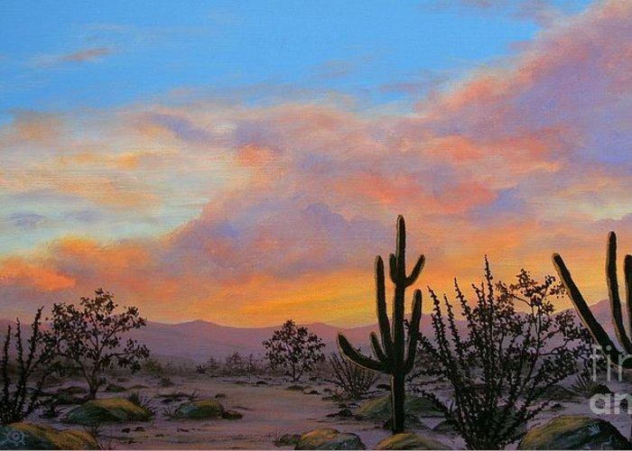 Desert Greeting Card featuring the painting Soft Summer Clouds by Diane Fuller