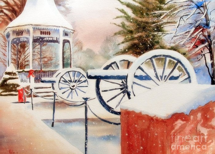 Softly Christmas Snow Greeting Card featuring the painting Softly Christmas Snow by Kip DeVore