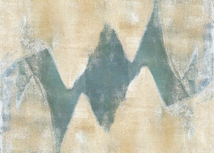 Monoprint Greeting Card featuring the mixed media Softly Green 2 Square by Carol Leigh