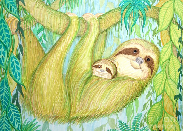 Sloth Greeting Card featuring the drawing Soggy Mossy Sloth by Nick Gustafson