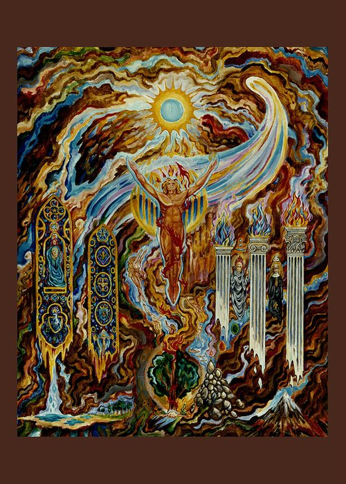 Greeting Card featuring the painting Sol Invictus - Mysteries Of The Christos by Daniel Gautier