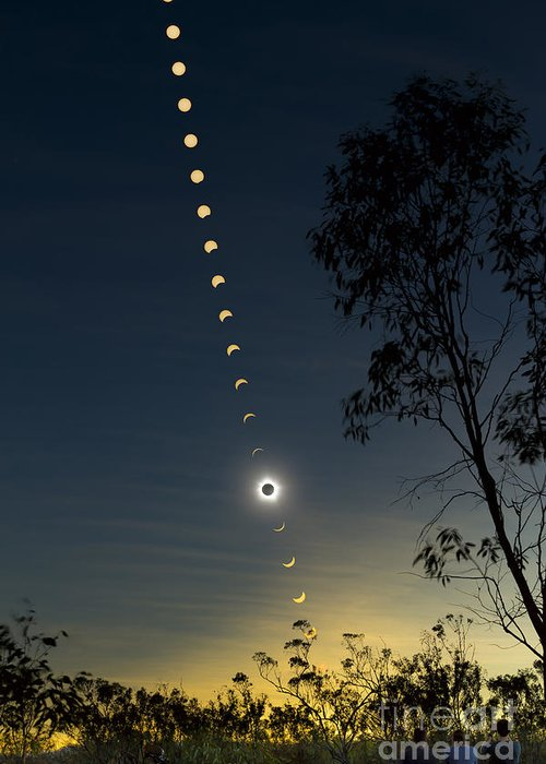 Eclipse Greeting Card featuring the photograph Solar Eclipse Composite, Queensland by Philip Hart