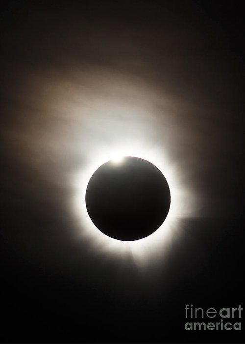 Eclipse Greeting Card featuring the photograph Solar Eclipse With Diamond Ring Effect by Philip Hart