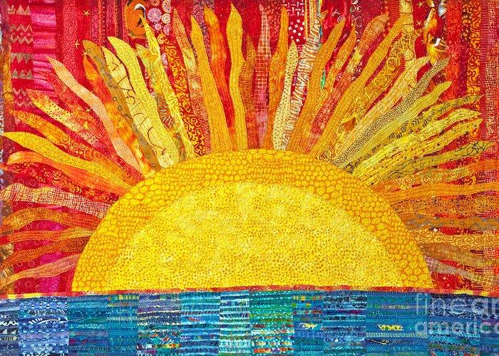 Fiber Art Greeting Card featuring the painting Solar Rhythms by Susan Rienzo