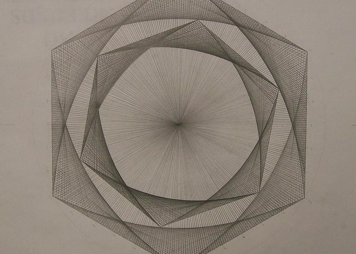 Fractal Greeting Card featuring the drawing Solar Spiraling by Jason Padgett