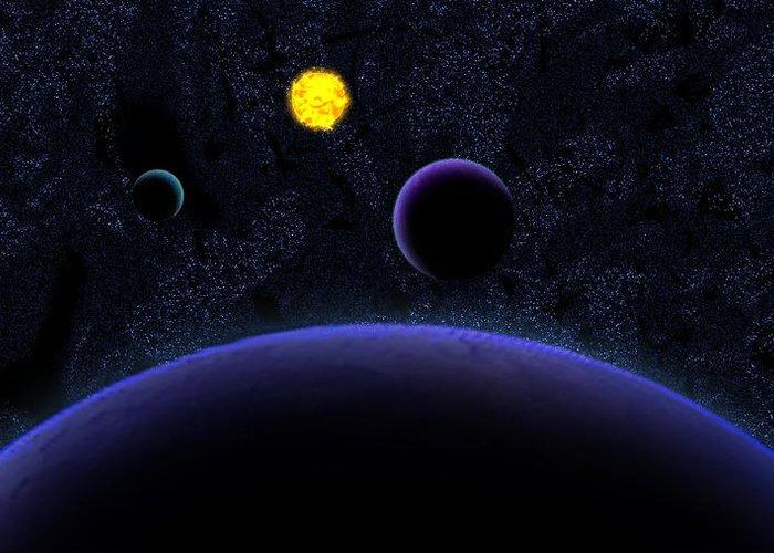 Solar Greeting Card featuring the digital art Solar System by Harley Hart