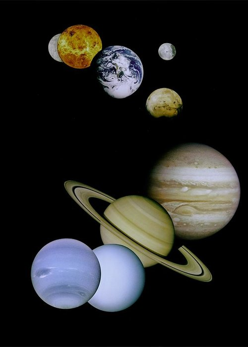 Mariner Greeting Card featuring the photograph Solar System Montage by Movie Poster Prints