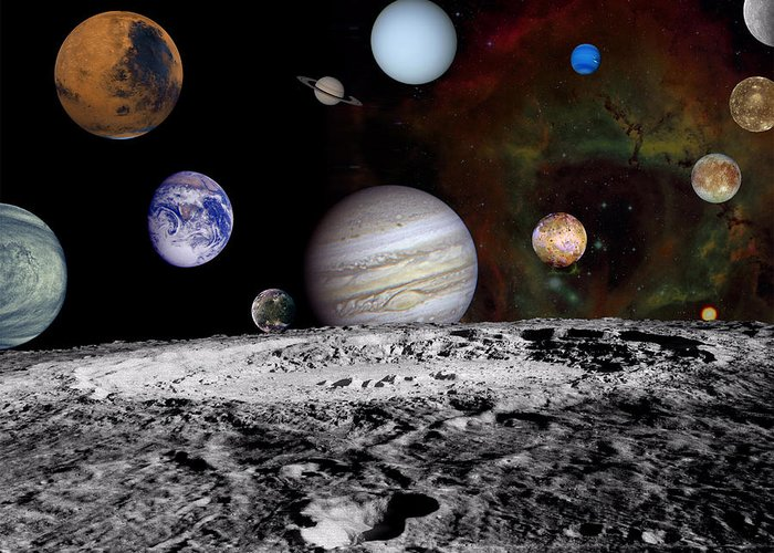 Space Greeting Card featuring the photograph Solar System Montage Of Voyager Images by Movie Poster Prints