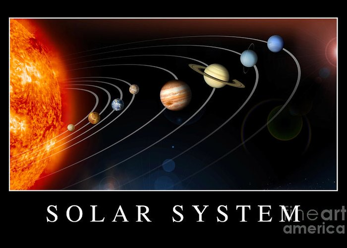 Motivation Greeting Card featuring the digital art Solar System Poster by Stocktrek Images