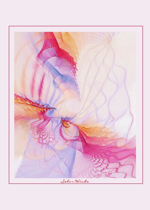 Fractal Greeting Card featuring the digital art Solar Winds by Gayle Odsather