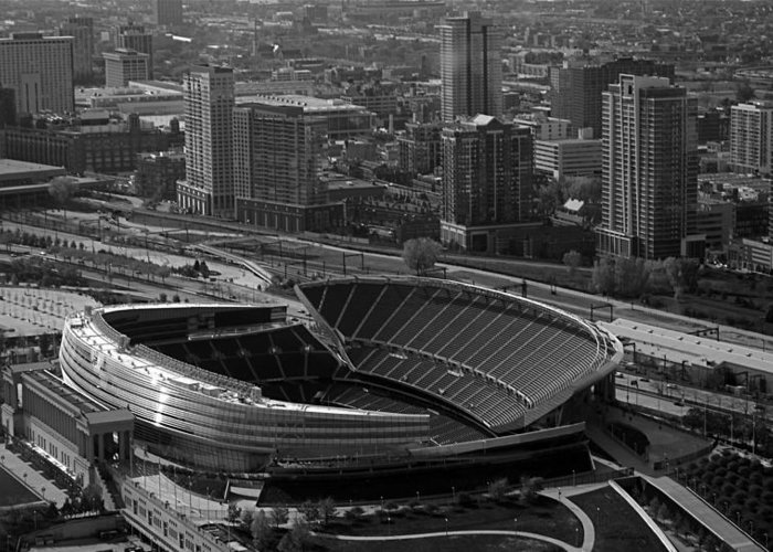 Chicago Greeting Card featuring the photograph Soldier Field Chicago Sports 05 Black And White by Thomas Woolworth