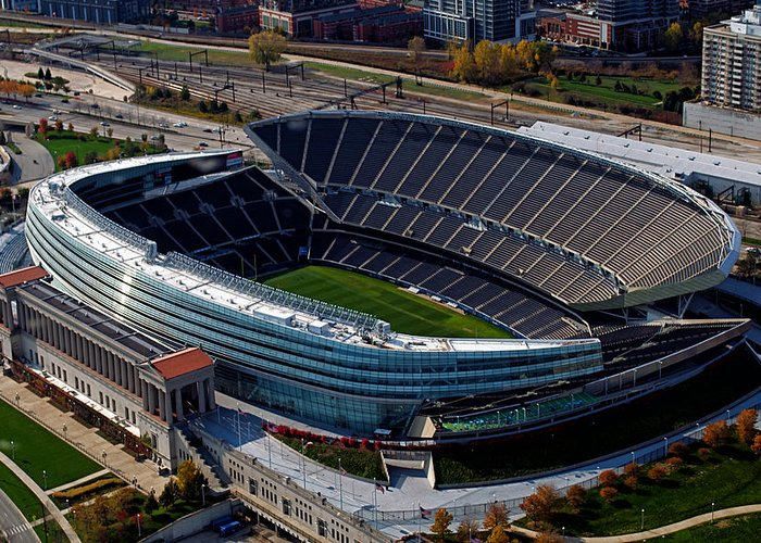 Soldier Field Greeting Card featuring the photograph Soldier Field Chicago Sports 06 by Thomas Woolworth