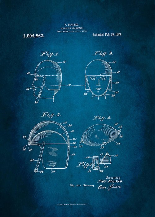 Soldier's Headwear Patent 1919 Greeting Card featuring the digital art Soldier's Headwear Patent 1919 by Patricia Lintner