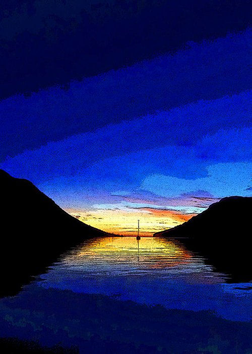 Abstract Greeting Card featuring the photograph Solitary Sailboat Sunrise by Anne Mott